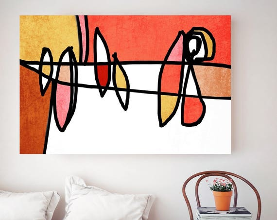 "Vibrant Colorful Abstract-0-17-1. Mid-Century Modern Red Canvas Art Print, MidCentury Modern Canvas Art Print up to 72"" by Irena Orlov"
