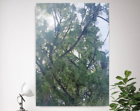 "Forest Stories 3, landscape painting, green blue landscape art  landscape watercolor- Irena Orlov - Watercolor Canvas Art Print up to 72"""
