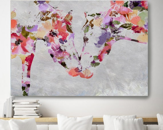 Loving Horses Bohemian Colorful Abstract Floral Horse BOHO Watercolor floral horse, farm animals, watercolor horse. Horse Canvas Print