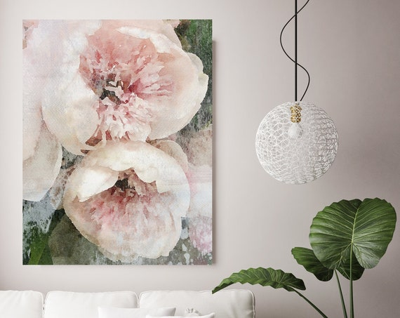 "Dreamy Shabby Chic Peony, Shabby Pink Peony, Shabby Chic Blush Peony Flower Hand Textured Canvas Art Print up to 72"" by Irena Orlov"