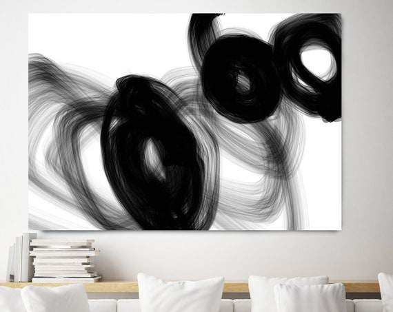 Black and White Art | Abstract Black Art | Abstract Painting | Modern Wall Decor | Neutral Wall Art | Black White Modern Art Canvas Print