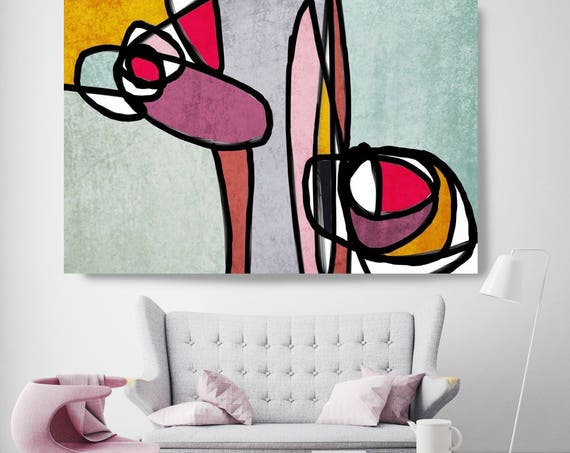 "Vibrant Colorful Abstract 70. Mid-Century Modern Pink Green Canvas Art Print, Mid Century Modern Canvas Art Print up to 72"" by Irena Orlov"