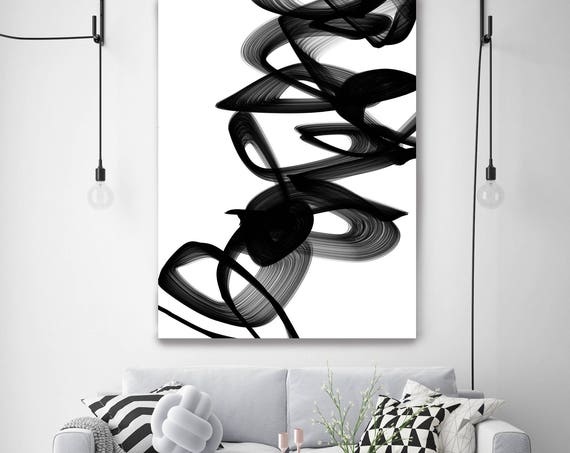 ORL-7098 Passionate 60H x 40W inche, New Media Abstract Black And White Digital Work on Canvas, Acrylic Paint and Textures by Irena Orlov