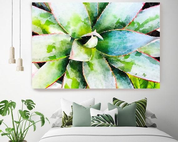 Elegant succulent. SUCCULENT Wall Art, Pale Green CANVAS Prints, Succulent Print, Plant Print, Succulent Art Print, Botanical Print