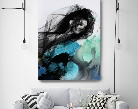 "ORL-9793-4-2 Blue Butterfly 8, Figurative Mixed Media Contemporary Blue Black Woman Canvas Art Print up to 72"" by Irena Orlov"
