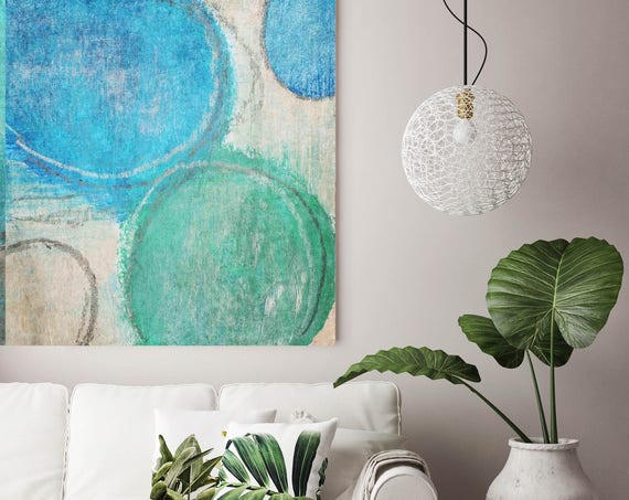 """Morning Awaking. Blue Green Abstract Art, Wall Decor, Extra Large Abstract Colorful Contemporary Canvas Art Print up to 48"""" by Irena Orlov"""