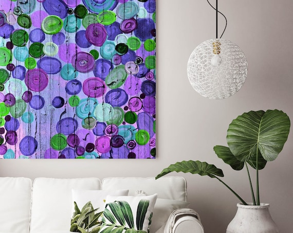 """Cosmic II. Green Purple Abstract Circles Art, Extra Large Abstract Colorful Contemporary Canvas Art Print up to 48"""" by Irena Orlov"""