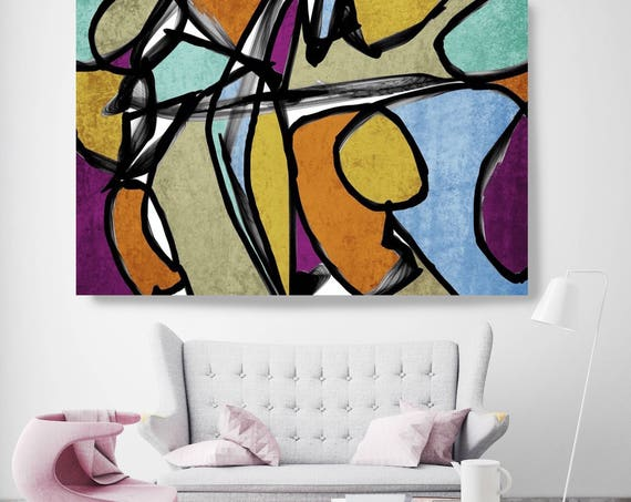 "Vibrant Colorful Abstract-0-59. Mid-Century Modern Blue Brown Canvas Art Print, Mid Century Modern Canvas Art Print up to 72"" by Irena Orlov"