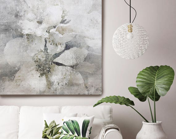 "Lightly Frosted 2. Shabby Chic Rustic Floral Painting, White Gray Rustic Large Floral Canvas Art Print up to 48"" by Irena Orlov"