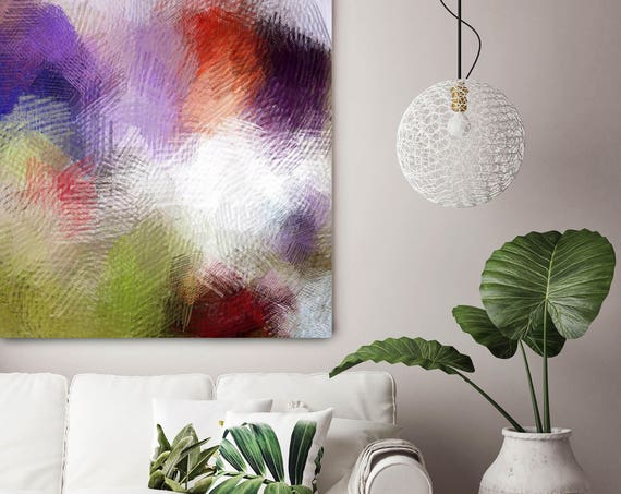"""Present Moment. Green Purple Red Abstract Paintings Art, Extra Large Abstract Contemporary Canvas Art Print up to 48"""" by Irena Orlov"""