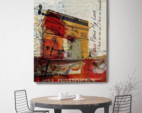 "Paris, Paris. Large Paris Canvas Art Print, Architectural Art Print up to 72"" , Red, Yellow, Abstract Paris by Irena Orlov"