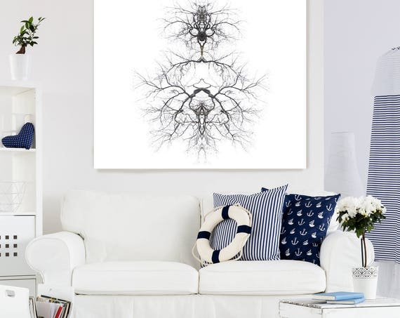 """Code 1. Contemporary Abstract Black and White, Unique Abstract Wall Decor, Large Surrealistic Canvas Art Print up to 48"""" by Irena Orlov"""