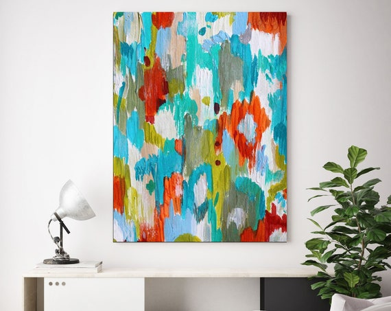 """Lustrous Day. Blue Red Abstract Paintings Art, Extra Large Abstract Colorful Contemporary Canvas Art Print up to 72"""" by Irena Orlov"""