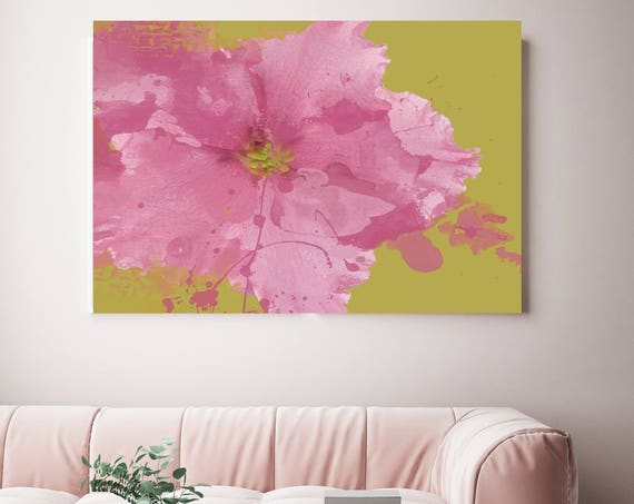"Ultimate Elegance. Floral Painting, Pink Green Abstract Art, Large Abstract Colorful Contemporary Canvas Art Print up to 72"" by Irena Orlov"