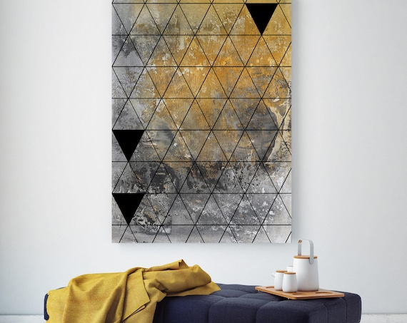 "Triangles. Urban Paintings Print, Wall Decor, Extra Large Geometrical Abstract Yellow Contemporary Canvas Art Print up to 72"" by Irena Orlov"