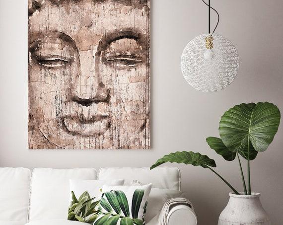 Buddha, Inner Peace 4, Buddha Painting Cream Brown Buddha Wall Art Buddha Canvas Art Print Rustic Buddha Zen Art, Irena Orlov
