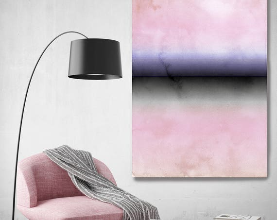 """Inspired by Rothko 38. Abstract Blue Black Pink Watercolor Canvas Art Print up to 72"""", Extra Large Abstract Canvas Art Print by Irena Orlov"""