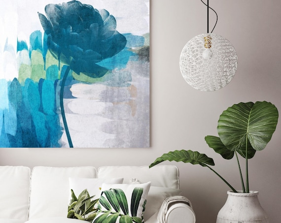"""Free Spirit. Floral Painting, Blue White Abstract Floral Painting Canvas Art Print up to 48"""" by Irena Orlov"""