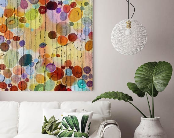 "Reflecting The Harmony. Yellow Red Abstract Art, Circles Large Abstract Colorful Contemporary Canvas Art Print up to 48"" by Irena Orlov"