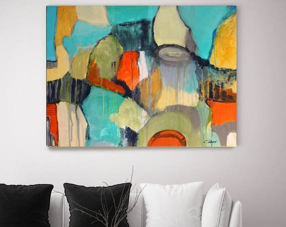 """Abstract 812. Abstract Paintings Art, Extra Large Abstract Blue Red Contemporary Canvas Art Print up to 72"""" by Irena Orlov"""