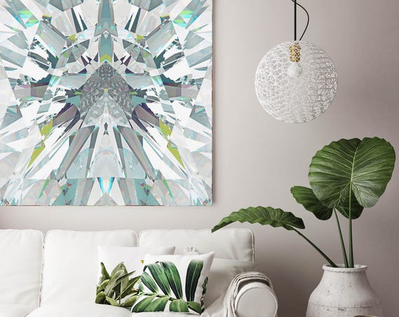 "Diamond. Abstract Diamond Art, Wall Decor, Extra Large Abstract White Blue Contemporary Canvas Art Print up to 48"" by Irena Orlov"