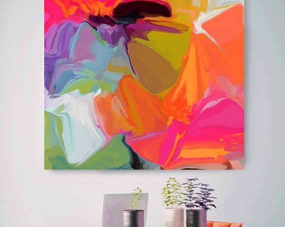 "Art Abstract Print on Canvas up to 50"", Abstract colorful painting, Green Orange Blue Pink Abstract Canvas Art Print, Color Vibrations 2"