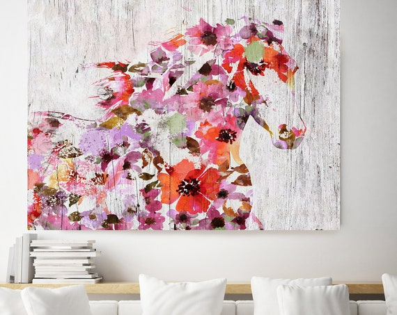 Floral Summer Horse Painting BOHO Mixed Media Horse Painting Canvas Print BOHO Floral Horse Art Large Canvas, Painted Horse Boho Wall Art