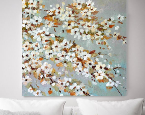 Blooming White Cherry Blossom. Shabby Chic Rustic Floral Painting, White Gray Rustic Large Floral Canvas Art Print, Vintage Floral