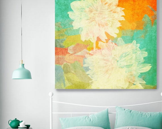 """Claire. Floral Painting, Yellow Orange Green Floral Art, Large Floral Colorful Contemporary Canvas Art Print up to 48"""" by Irena Orlov"""