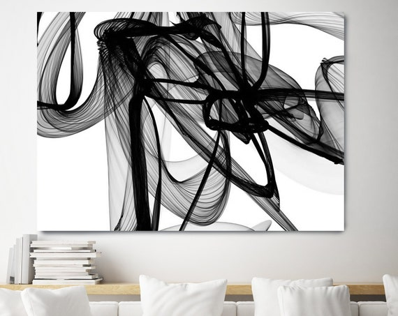 Minimalist Black and White,New Media on canvas, Abstract Canvas Painting, Black and White painting, Abstract Canvas Print, Large Wall Art