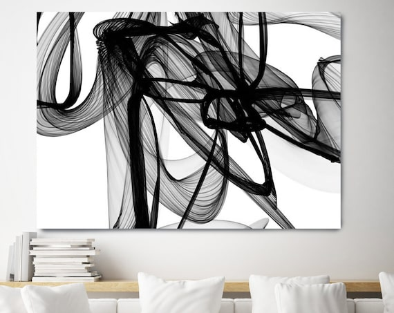 New Media on canvas, Abstract Canvas Painting, Black and White painting, Abstract Canvas Print, Large Wall Art, Hand Textured BW
