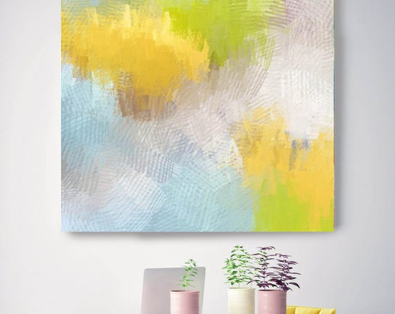 "Equilibrium point. Abstract Paintings Art, Wall Decor, Extra Large Abstract Yellow Green Blue Canvas Art Print up to 48"" by Irena Orlov"