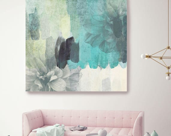 """Floral Beauty. II. White Green Teal Floral Canvas Art Print by Irena Orlov up to 48"""", Large Floral Oversized Canvas Art Print"""