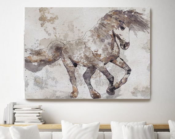 Bebeau Horse. Large Beige Horse, Horse Wall Decor, White Brown Rustic Horse, Western Horse art, large horse canvas print, large horse canvas