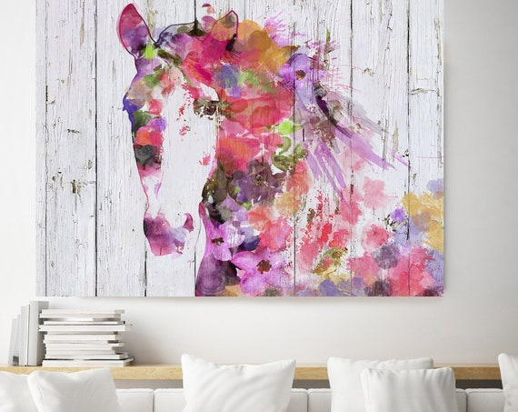 Gypsy Soul Bohemian Colorful Abstract Floral Horse BOHO Watercolor floral horse, farm animals, watercolor horse. Horse Canvas Print