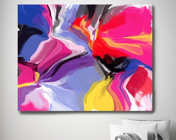 """Crushing Temper, Abstract Painting Canvas Art Giclee Print Blue Hot Pink Yellow Purple Boho Art Print Wall Art up to 80"""" by Irena Orlov"""