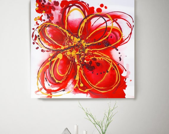 "Red Splash Flower, Floral Painting, Red Abstract Art, Large Abstract Colorful Contemporary Canvas Art Print up to 48"" by Irena Orlov"