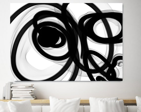 Black and White Art | Abstract Black Art | Abstract Painting | Modern Wall Decor | Canvas Art Print | Black White Modern Art Canvas Print