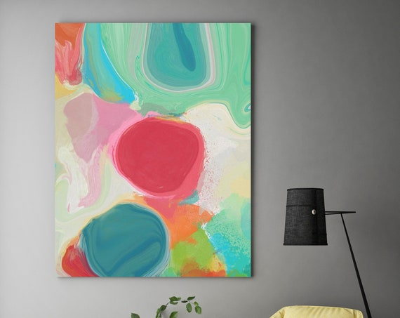"""Through the spring kaleidoscope. Geometrical Abstract Art, Wall Decor, Large Abstract Colorful Canvas Art Print up to 72"""" by Irena Orlov"""