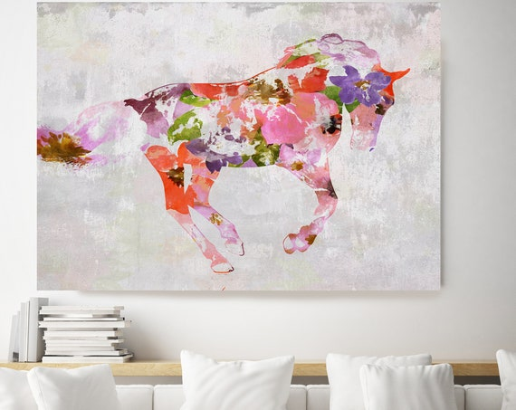 BOHO Horse. Floral Horse Art Large Canvas, BOHEMIAN PAINTING Multi Color Painted Horse Boho Wall Art,  Floral Horse Canvas Print Watercolor