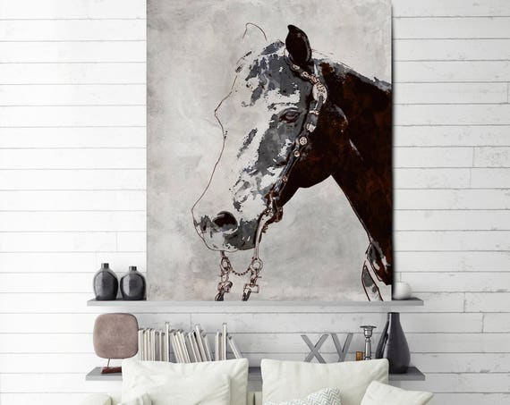 "The Morgan Horse 2. Extra Large Horse, Horse Wall Decor, Gray Rustic Horse, Large Canvas Art Print up to 81"" by Irena Orlov"