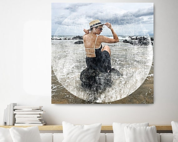 The Woman in the Water 2, Ocean Art, Ocean Photography, Ocean Print, Coastal Art, Beach Painting, Beach Art, Beach Canvas Art Print