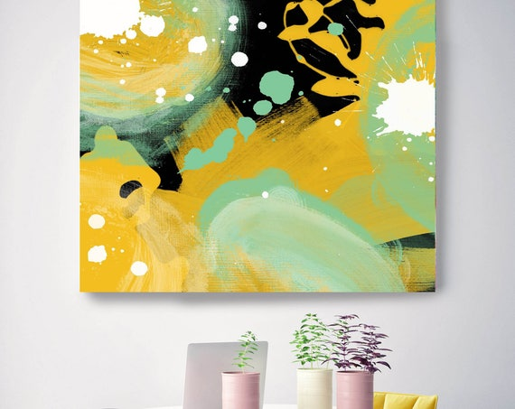 """Forest II. Geometrical Abstract Art, Wall Decor, Extra Large Abstract Green Yellow Black Canvas Art Print up to 48"""" by Irena Orlov"""