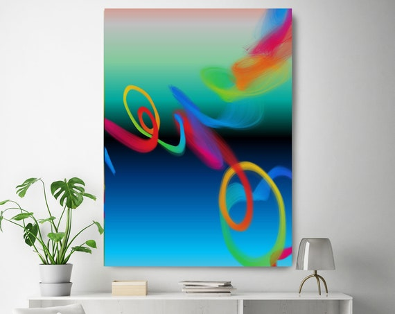 """Storm of Creation 34 Vivid Colors New Media Art Blue Turquoise Abstract Canvas Print, Extra Large Canvas Print up to 90"""" by Irena Orlov"""