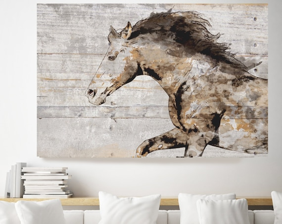 Horse Painting on Wood, Natural Rustic Horse Art Print on WOOD, Western Wall Hanging Home Decor, Equestrian Farmhouse Art, Barn Horse