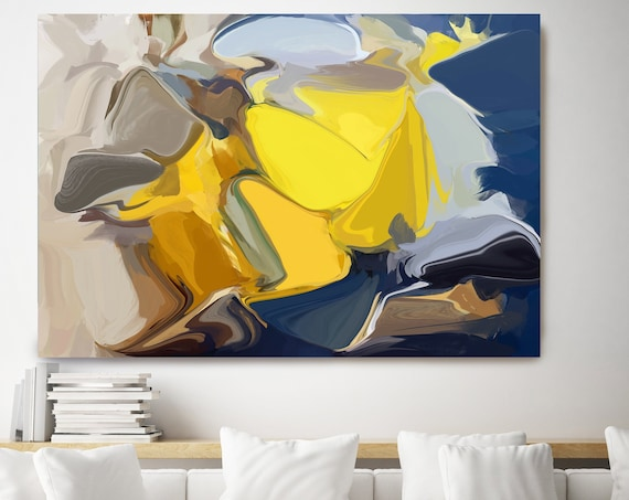 Vanished in the Sun, Abstract painting, Yellow Black Abstract, Modern, Contemporary, Irena Orlov, Flow Painting, Large Canvas Print