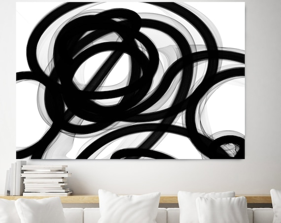 Black and White Art | Abstract Black Art | Abstract Painting | Wall Decor | Canvas Art Print | Interpretation of a Dream Art Canvas Print