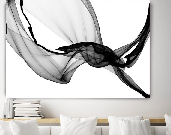 Black and White Abstract Painting Minimalist Art, Modern Wall Art Decor, Canvas Art Print