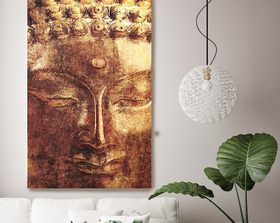 "Gold Buddha. Large Buddha Canvas Print, Yellow Red Buddha Canvas Art Print up to 88"" by Irena Orlov"