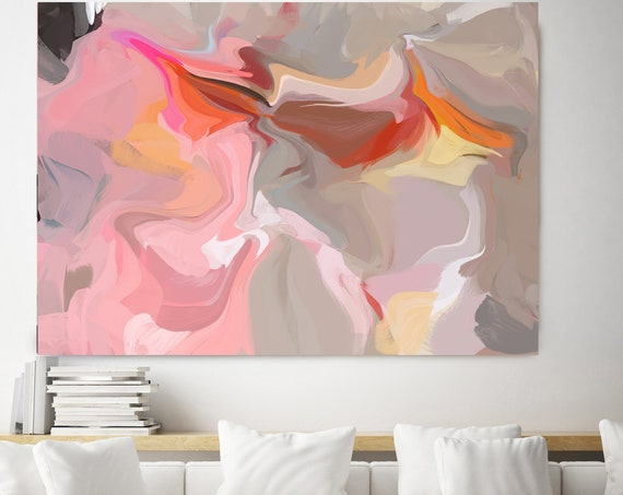 Flying, Original Pink Orange Painting, Canvas Art, Abstract Art, Colorful Abstract, Painting On Canvas, Large Art, Large abstract